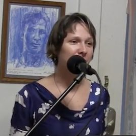 Laura Lee Bahr at her farewell reading at the Kerouac House
