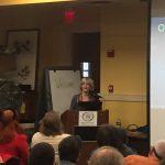 Cathy Cassady Sylvia speaking at the Lowell Celebrates Kerouac festival